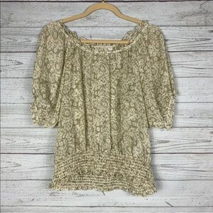 Michael Kors Small Sheer Ruffle Tan Floral Boho